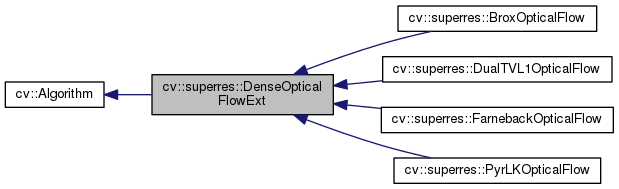 OpenCV: cv::superres::DenseOpticalFlowExt Class Reference